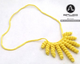 Yellow Rulino, Crochet necklace, Necklace in natural fibers, Handmade knitted necklace