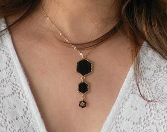 Elegant jewelry, Modern gold black necklace, Black geometric necklace, Black delicate necklace, Black Hexagon necklace