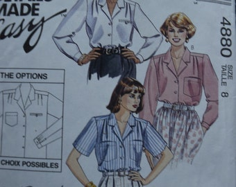 McCalls 4880 Designer made Easy The Perfect 3-Hour Blouse (uncut) in size 8