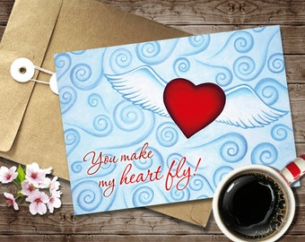 Romantic Love Card, Digital Instant Download, Valentine's Day Card Print, 5x7 Valentine Love Card Printable, Red Flying Heart Greeting Card