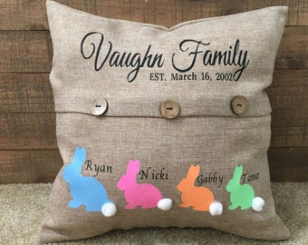 Easter family pillow, Easter bunny pillow, easter pillow, family pillow, holiday pillow, easter bunny, easter, button pillow - customized