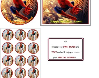 Spiderman cake topper,Spiderman cupcake toppers, Spiderman edible image, Spiderman cake decorating, Spiredman Birthday party, Spiderman cake