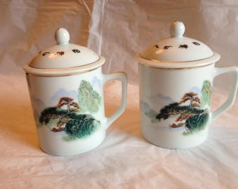 Two Chinese Porcelain Lidded Tea Cups or Mugs ~ Pine Tree and Mountains