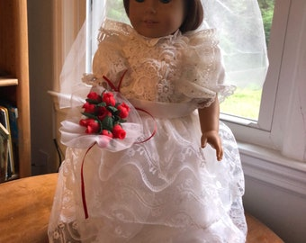 Doll Wedding Dress - Vintage Lace - American Girl Doll Clothes