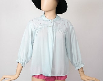 60s Bed Jacket 1960s Lingerie Mod Babydoll Boudoir Baby Blue Powder Negligee Floral Embroidered Short Robe Nightgown Sleepwear Shirt Top
