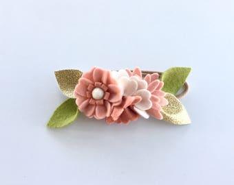 Blush Flower Crown-Baby/Toddler/Child/Adult Headband- Blush, Linen Gold