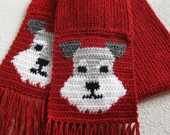 Miniature Schnauzer Scarf. Red knitted scarf with Schnauzer dog faces. Knit dog scarf. Schnauzer gift