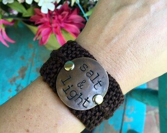Salt and Light Custom Hand Stamped Bracelet Cuff, Scripture Bracelet, Religious Jewelry, Personalized Bracelet, Gift for Her