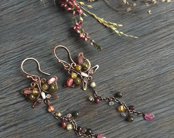 Butterfly Long Cascade Earrings with tourmaline Modern Fashion jewelry wirewrapped copper jewellery inspired by Art Nouveau style