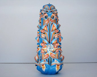 Carved candle handmade - blue orange color