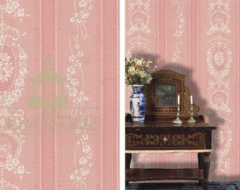 Dollhouse Miniature Wallpaper, Emma, Scale One Inch