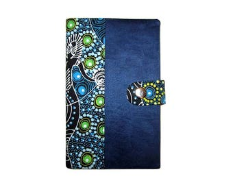 Handcrafted case + Aboriginal 60 slots blue Pu fabric card holder