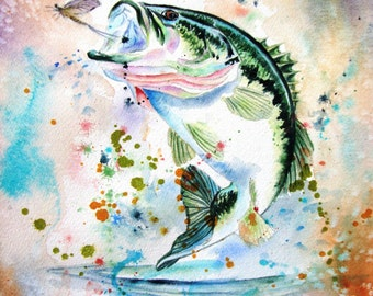 BASS  Fish Watercolor Print for him gift from my original painting by Diana Turner, Wall Art Decor 11 x 14