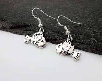 Fish Earrings, Charm Earrings, Beach Jewellery, Clown Fish Earrings, Beach Jewellery, Nautical Earrings, Fish Jewelry, Clownfish, Fish Gift