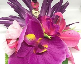 Tropical Orchid Skull hair flower
