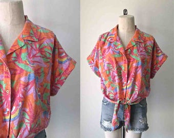 Vintage 1980's tie front shirt BRIGHT BUTTERFLY colorful orange - L