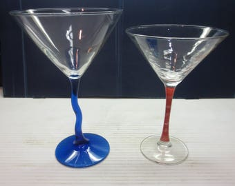 Two Great Martini Glasses Crooked Cobalt Blue Stem And Pinky Peach Stem