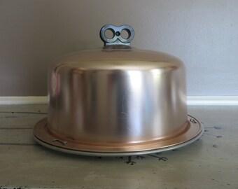 Pink Cake Carrier Vintage Cake Cover Cake Plate Aluminum Regal Aluminum Carrier Retro Kitchen Retro Cake Taker