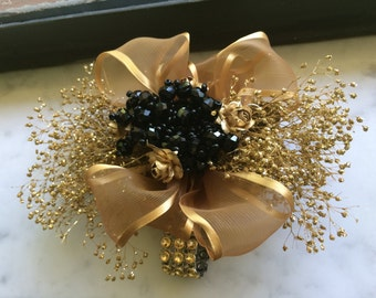 gold and black wrist corsage for prom gold wrist corsage for wedding mother of the bride corsage mother of groom corsage golden anniversary