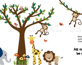 Jungle Decals, Jungle Wall Decals, Nursery Wall Decal, Giraffe, Elephant, Lion, Zebra, Four Monkeys, XXXL Rainforest Design
