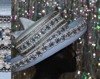Whittall & Shon Pearl Blue  White Beaded Wide Brim Hat