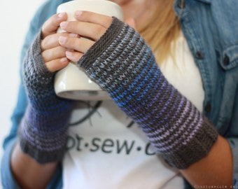 CROCHET PATTERN - Kaleidoscope Fingerless Mitts - Instant Download (PDF)