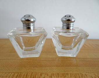 Salt & Pepper Shakers Miniature Square Clear Vintage Irice