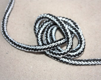5 mm BLACK & WHITE Cotton Rope = 5 Yards = 4.57 Meters of Elegant Cotton Braided Cord Bulky Yarn Super Bulky Yarn Macrame Cotton Cord