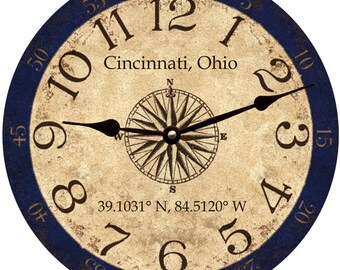 Personalized Longitude Latitude Coordinates Clock