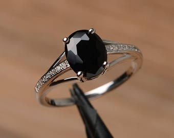 real black spinel ring promise ring oval cut solid sterling silver ring prong setting black gemstone ring
