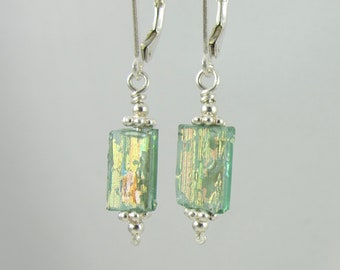 patina covered ancient Roman glass sterling silver lever back earrings FREE SHIPPING