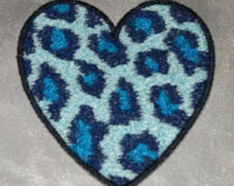 Embroidered Aqua Blue Leopard Animal Print Faux Fur Heart Love Patch Iron On Sew On USA