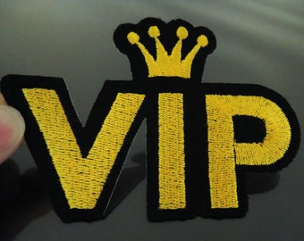 VIP Letter Patches - Iron on or Sewing on Patch Letter Patches Crown Patch Embellishments Embroidery fonts