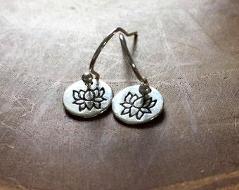 Tiny Lotus - silvertone dangling earrings with little metal charm with a lotus - boho, bohemian, gypsy, hippie, round, ibiza, zen, flower
