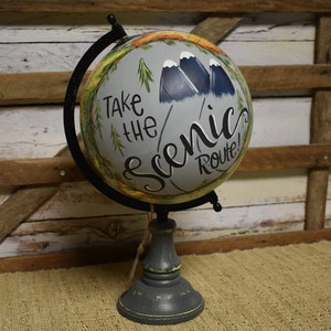 Genial World Globe | Travel Theme | Mountains | Home Decor | Hand Painted | Gift  Item