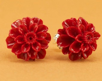 Vintage Red Mum Button Post Earrings