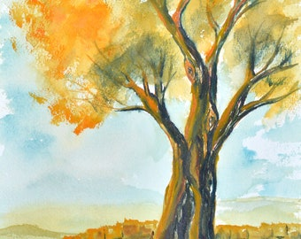 12 x 9 Original watercolor landscape, painting, fall tree watercolor, watercolor painting, wall art, beautiful painting