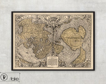 Wall map of the World  - Ancient maps - Antique World Map - Historical maps -  LARGE Fine Art archival print - 089