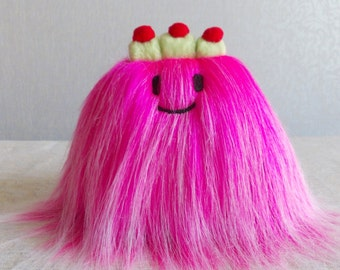 Hot pink fur toy, cute plushies, cute plush, kawaii toys, Sweet toy, kawaii plush, CAKE toy, cute plushie, kawaii plushie,  sweet plush