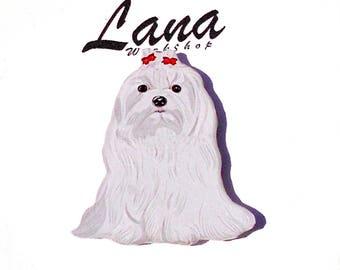 Dog jewelry Maltese , Dog brooch, Maltese jewelry, dog sitting, loyal friend, beautiful dog.
