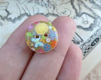 10x Wooden Button 15mm Button, Sewing, Dress Making Buttons Scrapbooking BT11