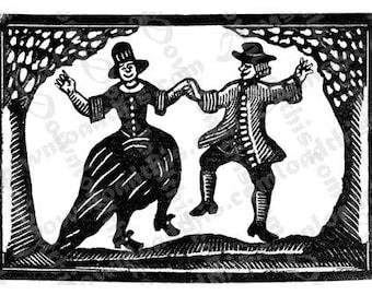 Digital Download, Vintage Dancing Halloween Characters Woodcut