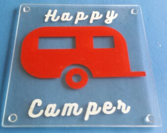 Retro Look Happy Camper Cutting Board