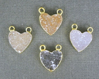 Druzy Heart Pendant Charm with 24k Electroplated Gold Edge Double Bail (DZ-04)