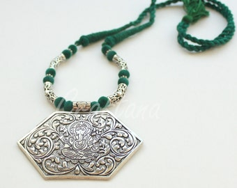 Indian jewelry/Oxidized silver pendant/thread necklace/Ganesha threaded necklace /boho necklace / unique statement/craftana /ethnic