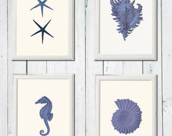 Navy blue sea print  4 art sea vintage printables 8,5 x 11 inch digital file INSTANT DOWNLOAD