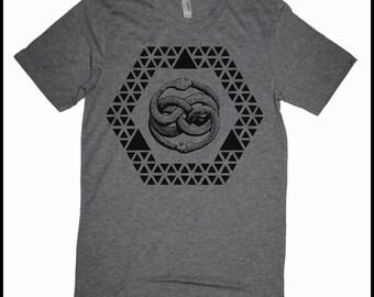 Men's Ouroboros T-Shirt Infinity Sacred Geometry Grey Tee Shirt Screen Printed Tee