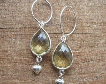 Green Amethyst Drop Earrings- Amethyst Gemstone Heart Motif Danlge Earrings- February Birthstone Earrings Silver Sterling Valnetine