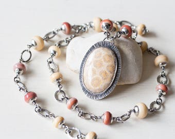 Agatized Fossil Coral Necklace, Pastel Floral Pattern, oval sterling silver metalwork bezel set cabochon pendant, SRA lampwork necklace