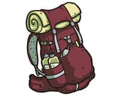 Red Backpacking Pack - 3&...